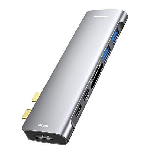 Hub USB C para MacBook Pro, USB tipo C para HDMI, 7 em 2 USB C para HDMI, 2 portas USB 3.0, leitor de cartão TF / SD, Thunderbolt 3 Power Delivery, adaptador USB C de alumínio para MacBook Pro / Air 2020 -2018