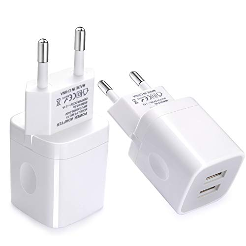 European Wall Charger, Vifigen 2-Pack USB 2.1AMP Universal Europe Charger Block Dual Port Plug Compatible for iPhone 12 11 Pro Max XS XR X SE 8 7 6 Plus, Samsung S21 S20 S9, Note 20 Ultra, LG, Moto