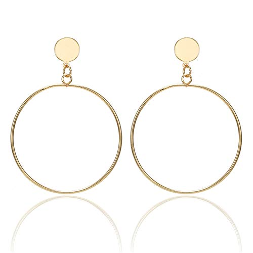 Presock Pendientes Mujer,Aretes Fashion Statement Earrings NEW Big Geometric Earrings For Women Hanging Dangle Earrings Drop Earing Modern Jewelry e0336gold