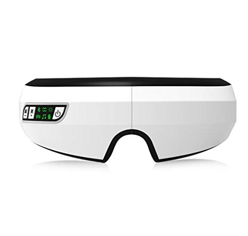 Masajeador de ojo con compresa caliente / terapia de la música / presión de aire y función de vibración / Bluetooth puede aliviar el estrés, ojos hinchados, ojeras, cansancio, 180 ° plegable y recarga