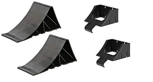 wellenshop 1 Paar Unterlegkeile Bremskeile 225 x 90 x 100 mm mit Halter Kunststoff Anhänger, Bootstrailer, Autoanhänger
