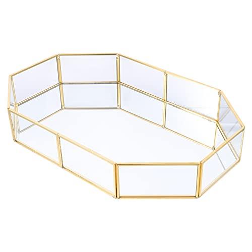 YARNOW Antike Schmuck Tablett Achteckige Goldene Rahmen Glas Spiegel Ohrring Halskette Organizer Kosmetische Schmuckstück Lagerung Display Fall 20X14. 2X4. 5Cm
