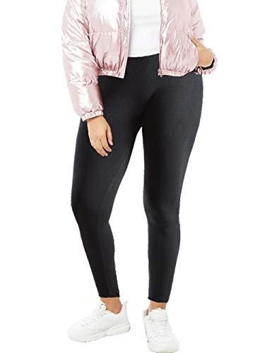 Women's Plus Size Fleece Lined Thermal Leggings - (Black, 3X)