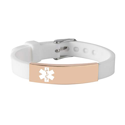 BAIYI Medical Alert ID Bracelets for Women and Girls White Silicone Band with Rose Gold Emergency Tag Free Engraving