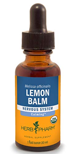 Herb Pharm Certified Organic Lemon Balm Liquid Extract for Calming Nervous System Support, Organic Cane Alcohol, 1 Ounce