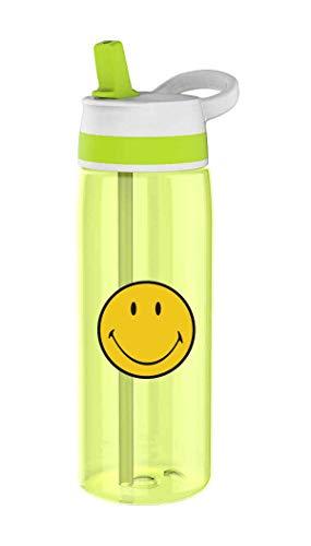 zak! designs 6662-006 Trinkflasche mit integriertem Strohhalm, Smiley, grün, 750 Milliliter