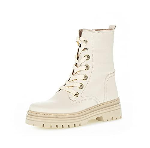 Gabor Damen Combat Boots, Frauen Stiefeletten,Wechselfußbett,Best Fitting,schnürstiefel,Winterstiefel,Winterschuhe,Panna (Panna),37.5 EU / 4.5 UK