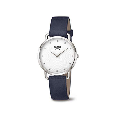 Boccia Damen Analog Quarz Uhr mit Echtes Leder Armband 3314-01