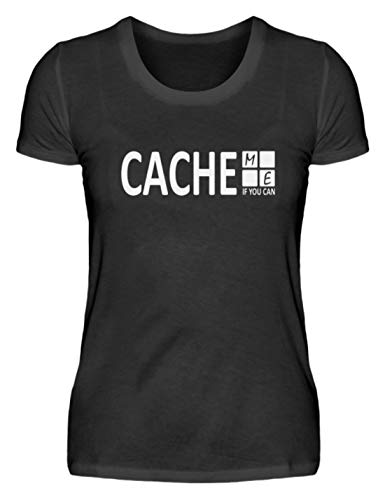 Cache Me If You Can Geocaching - Camiseta para mujer Negro XL
