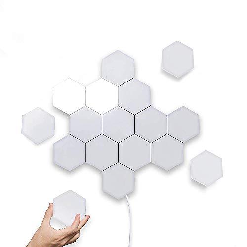 Wandlampe Sensor Leuchte Wand Innen Touch-Sensitive Modular Light Modern Dekorativ Lampen Honeycomb Design DIY Quantum Lichter Kreatives Wandlichter Wandbeleuchtung (Weißes Licht, 5er Set)