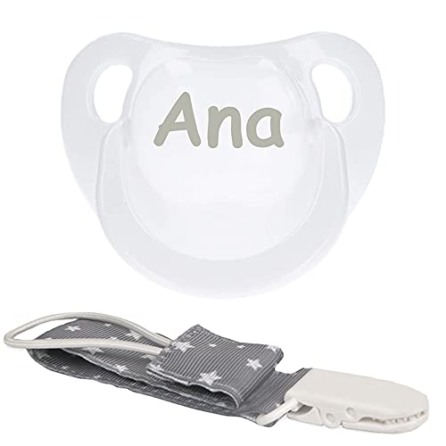 BebeDeParis   Regalos Personalizados para Bebés Recién Nacidos   Chupete Personalizado con Nombre y Chupetero (Gris)