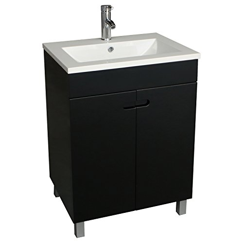 Walcut 24 Inch Bathroom Vanity and Sink Combo Modern Stand Pedestal Cabinet with Resin Countertop Vessel Vanity Sink and Faucet Combo Set Black