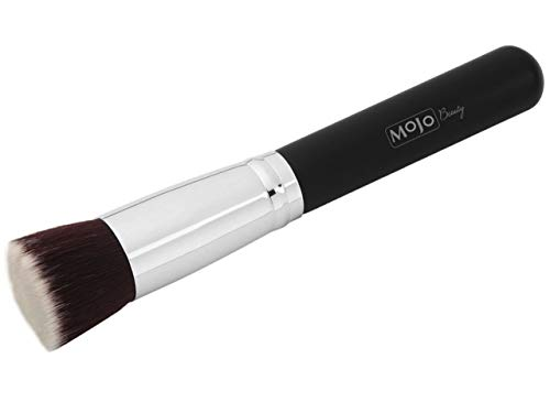 Mojo Beauty Foundation Kabuki Cosmetic Brush for Face Blending Liquid or Cream - Buffing Stippling Concealer Makeup - Large Dense Head with Soft Premium Vegan Synthetic Bristles-Full Coverage Flat Top