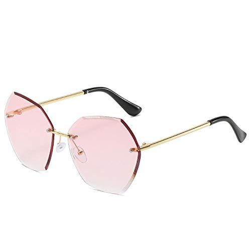 HAOMAO Gafas de Sol Vintage sin Montura con Degradado para Mujer, Lentes de Corte de Diamante Irregulares para Mujer, Gafas de Sol, Rosa Claro