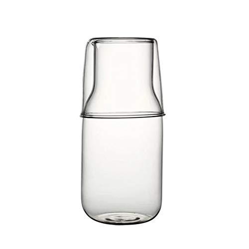 Bedside Water Carafe Set with Tumbler Glass Set for Bedroom Nightstand, Glass Mouthwash Bottle for Bathroom, 14oz/400ml (Clear)
