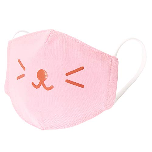 Claire's Cotton Cloth Face Mask for Kids, Child Ages 3-6 Years, Washable and Reusable, Pink Cat Whisker, 1 Piece