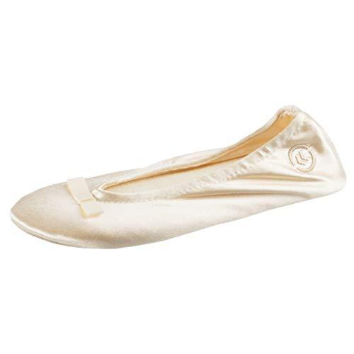 Isotoner Damen Ballerina, Satin, Cremefarbene Schleife, 35/36 EU