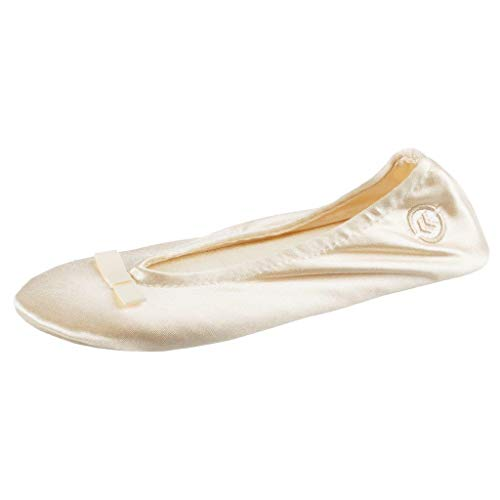 isotoner Women's Signature Satin Ballerina Slipper, Cream, 9.5/10.5