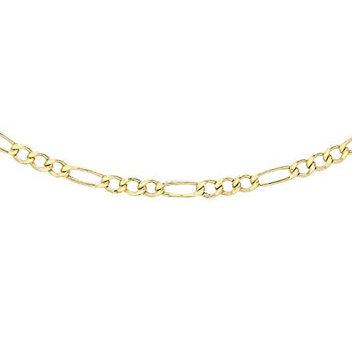 TJC 9ct Yellow Gold Figaro Chain Necklace for Womens Gift for Wife/Girl Friend/Mother Size 24 Inches in Glossy Finish