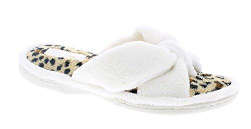 Gold Toe Women's Darcy Memory Foam Microterry Fleece Spa Thong Plush Slip On Slipper Ivory Leopard L 9 US