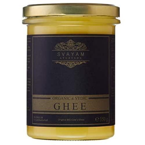 GHEE Orgánico y Védico - Ayurveda SVAYAM - Pura Mantequilla Ghee Clarificada para Comer y Cocinar - Orgánica - Sin Lactosa - No produce Intolerancia - 350 g