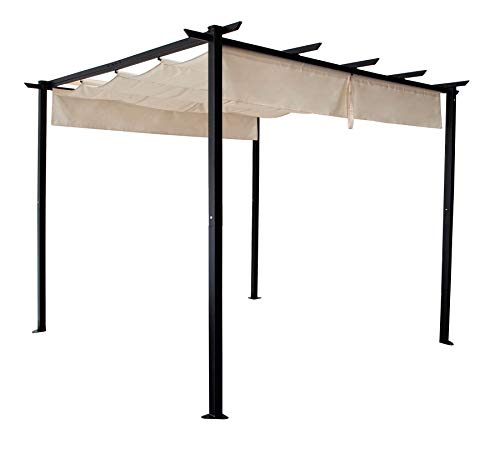 DEGAMO Gartenpavillon Antibes 3x3 Meter mit Schiebedach, Stahlgestell schwarz