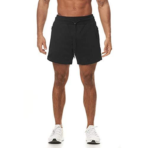 Pantalones Cortos de Cintura elástica de Color sólido para Hombre, Pantalones Cortos Deportivos de Talla Grande con múltiples Bolsillos para Colgar, Toalla para Correr, Entrenamiento, Talla Grande L