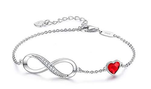Beforya Paris – Pulsera para mujer con corazón – Plata 925 – Bonita pulsera brillante con corazón de cristal – Pulsera para mujer elegante caja de regalo