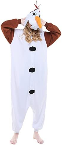 NEWCOSPLAY Adult Olaf Unisex Pyjamas Halloween Onesie Costume Olaf Small product image