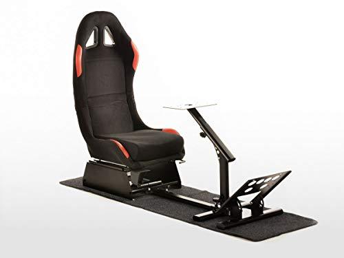 FK Gamesitz Spielsitz Rennsimulator eGaming Seats Suzuka Stoffbezug mit Teppich schwarz/rot