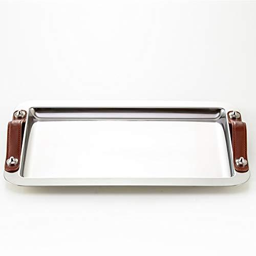 Edelstahl quadratische Platte mit Griff, Ledergriff Fach, passend for Teller, Teller, Grillplatte, Reisplatte, Obstteller