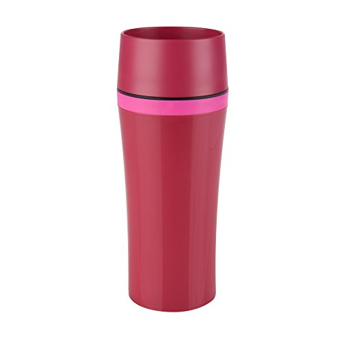 Emsa 514178 thermosbeker, onderweg genieten, 360 ml, Quick Press-sluiting, framboos/roze, Travel Mug Fun