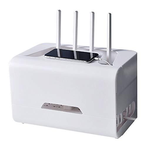 Wall racks Caja de almacenamiento para router inalámbrico con conexión WiFi, para ordenar la fuente de alimentación, dispositivo de televisión, de plástico (color: blanco, tamaño: 32 x 20 x 20 cm)