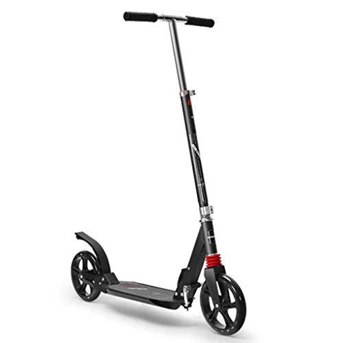 WANG LIQING Vespa de Dos Ruedas, Plegable, de un Solo Pedal de Vespa, el Freno de Mano Doble absorción de Choque, Conveniente for el Adulto, la Gente Joven. (Color : Black, Size : Single Brake)