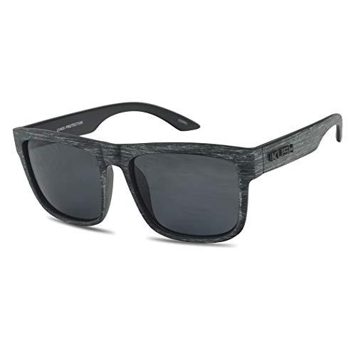 KUSH Unisex Dark Tinted Sunglasses Classic Faux Wood Print Men & Women Retro Designer Sun Glasses Style (Grey Wood   Smoke)