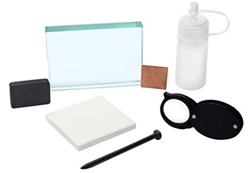 EISCO Mineral ID Kit - 7 Pieces - Includes Streak Plate, Glass Plate, Dropper Bottle, Magnet, Nail, Copper Square & Retractable Hand Lens - Great for Geology Classrooms & Basic Field Testing Labs