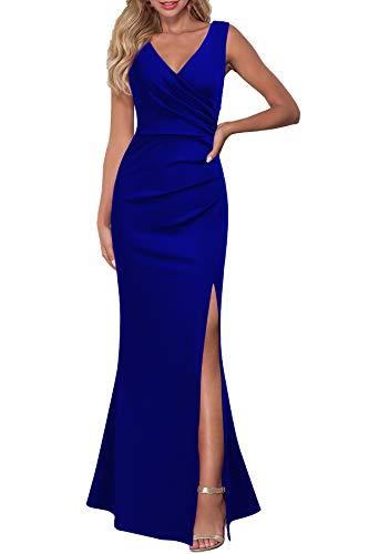 WOOSEA Women Sleeveless V Neck Split Evening Cocktail Long Dress Royal Blue
