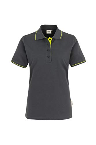 HAKRO Damen Polo-Shirt Casual - 203 - anthrazit/kiwi - Größe: XL