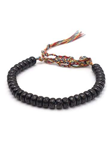 BENAVA Tibet Armband mit Mantra Zeichen - Kokosnuss Perlen Schwarz Bunt Verstellbar Geflochten Tibetisches Armband
