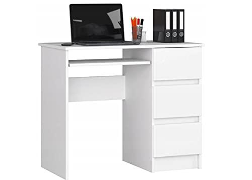 Escritorio de ordenador con 3 cajones y un cajón extraíble para el teclado. Un escritorio para un ordenador de sobremesa o portátil, escuela y escritorio juvenil 90x77x50 (blanco derecho)