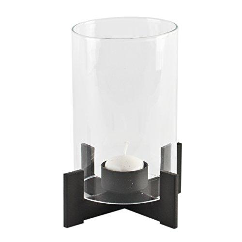 Varia Living Windlicht ABEL aus Metall | Mit Glaszylinder als Windschutz | Zeitloses Design | Modern und Klassisch | | Höhe 16 cm x D 14 cm