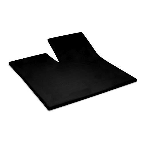 Assepoester - Splittopper Hoeslaken (tot 15 cm) - Satijn - 160x210 cm - Zwart