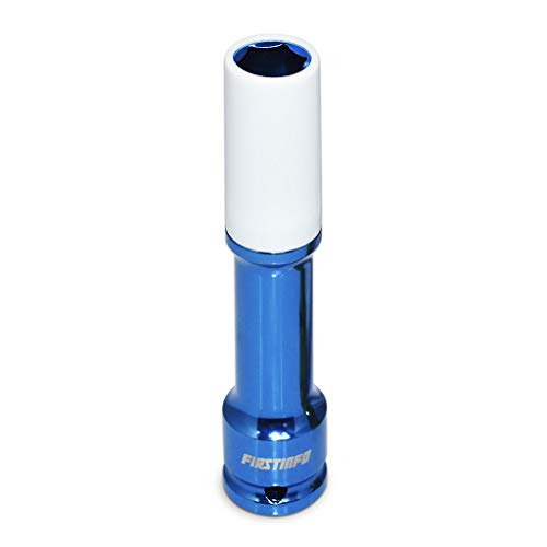 FIRSTINFO 1/2-Inch Impact Drive Lug Nut Socket 17mm CR-MO Thin-Walled Wheel Rim Protector, 150mm Long, Non-Marring