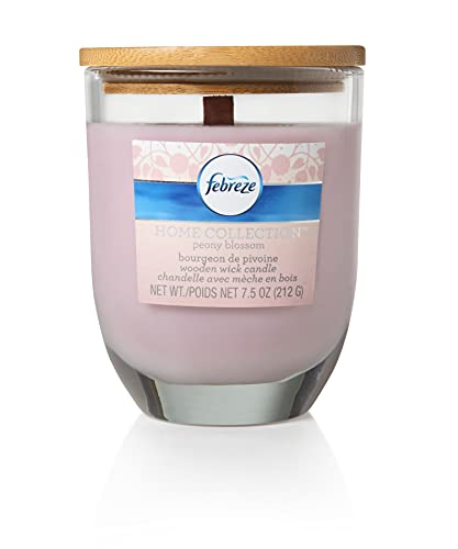 Febreze Home Collection Peony Blossom Scented Jar Candle, 7.5 oz, Pink