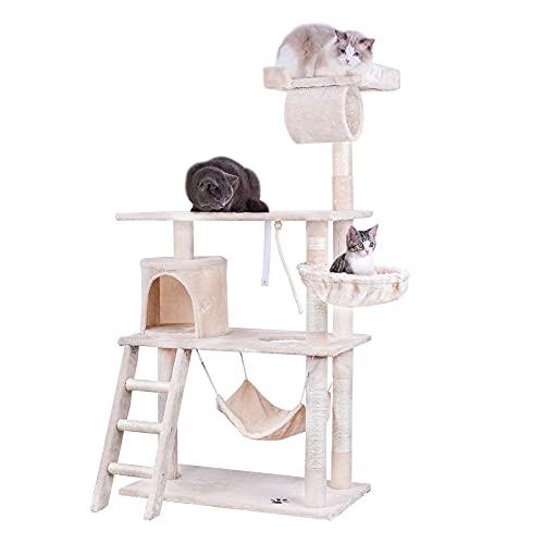 Rascador para gatos, 142 cm, torre de escalada, árbol de actividades con hamaca, cueva para gatos, plataformas, cuerda de juguete, escalera y troncos de sisal para gatos