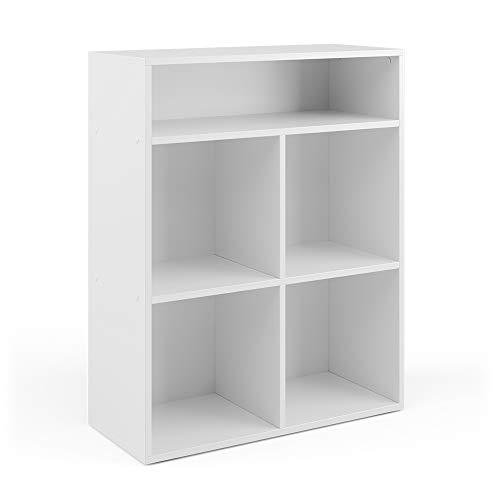 Vicco Kinderregal Luigi für Faltboxen weiß Bücherregal Spielzeugregal Aufbewahrung (4 Faltboxfächer)
