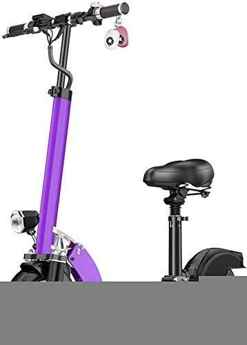 DJPP Scooters Scooter Eléctrico con Asientos Y Manillares Plegables, Neumáticos de Vacío de 10 'Para Andar Fuera de la Carretera Y Potente E-Scooter de Motor para Adultos Y Adolescentes, Rosa, 31To37