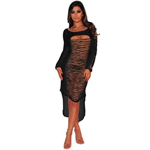 Sexy einteiliges Kleid schöne aushöhlen unregelmäßigen Rock für Frau Dame weiblich (schwarz, L-Größe)