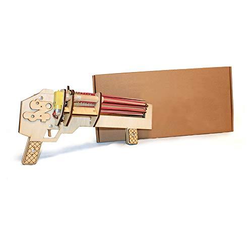 EP-Toy Modelo de Madera de Corte por láser 3D, Pistola de Goma de acción rápida automática Que ensambla el Juguete Regalo Divertido Creativo