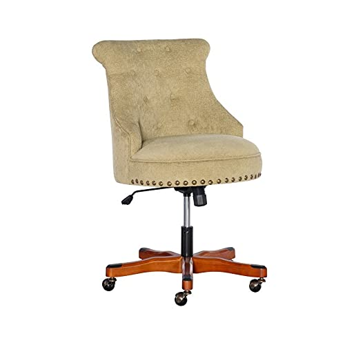 Linon Bond Office Chair Green - Dark Walnut Wood Base